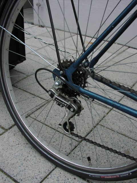 Spare bicycle, rear derailleur in detail