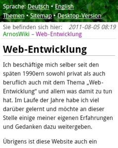 Website August 2011, mobile view
