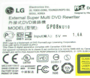 LG GP08NU10 specifications