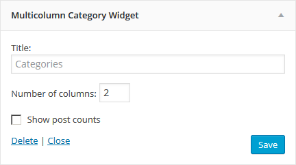 Multicolumn Category Widget, backend