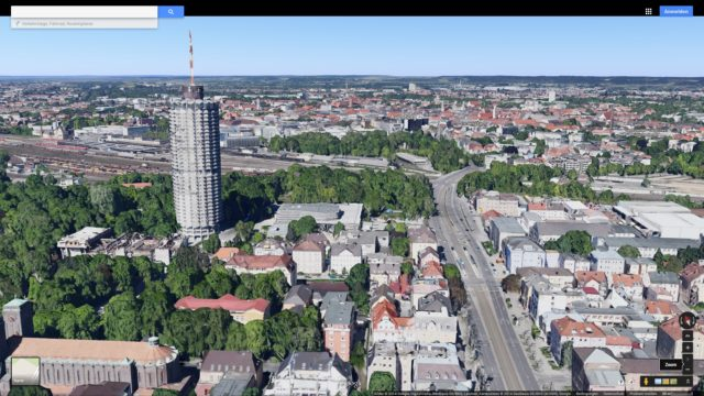 Google Maps 3D, view over Augsburg