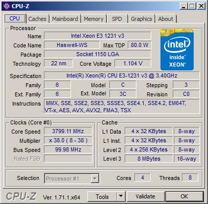 CPU-Z with Xeon E3-1231 v3
