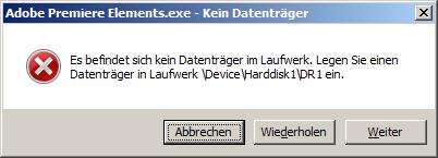 Adobe Premiere Elements 13, error message at start