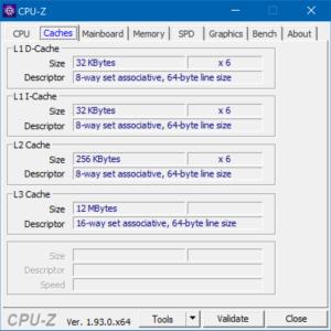 CPU-Z, cache