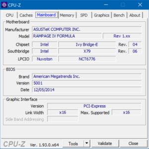 CPU-Z, mainboard
