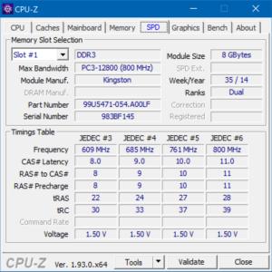 CPU-Z, SPD