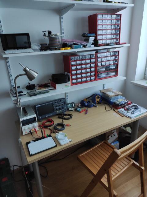 Electronics lab, July 2021
