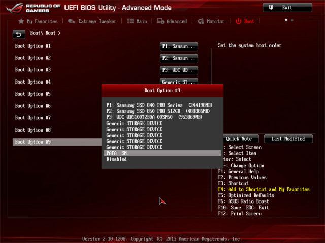 Boot options ASUS Rampage IV Formula