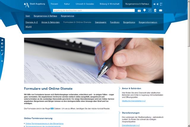Website augsburg.de Formular