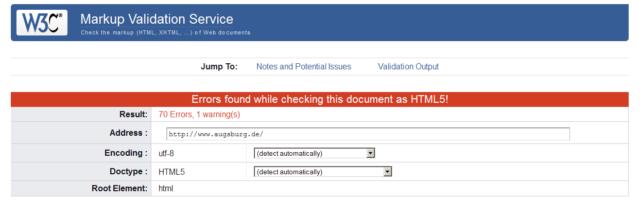 Website augsburg.de W3C-Test