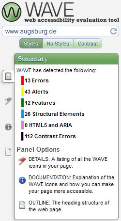 Website augsburg.de WAVE-Test