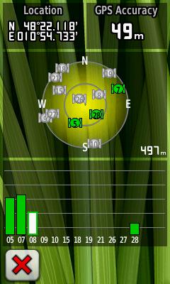 Garmin Oregon 450 GPS-Status