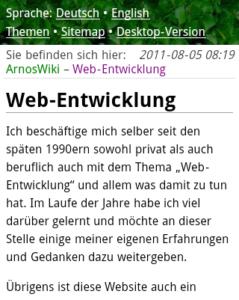 Website August 2011, mobile Version