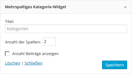 Mehrspaltiges Kategorie-Widget, Backend