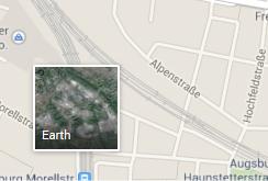 Google Maps, Symbol zum Wechsel auf die 3D-Ansicht