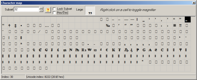 Keyboard Layout Manager, Zeichentabelle