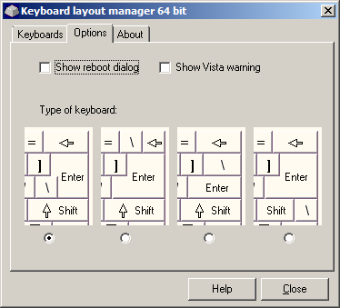 Keyboard Layout Manager, Optionen