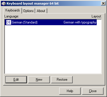 Keyboard Layout Manager, Hauptfenster