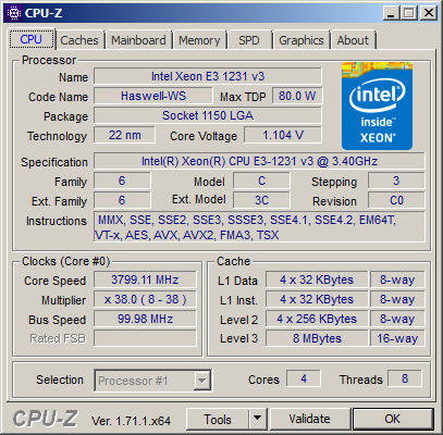 CPU-Z mit Intel Xeon E3-1231 v3