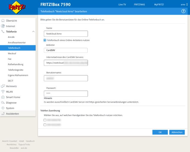 Telefonbuch über Nextcloud mit Fritz!OS 7.20
