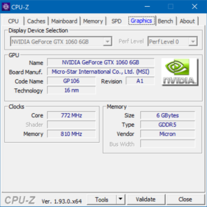 CPU-Z mit Xeon E5-1650v2 - Grafikkarte
